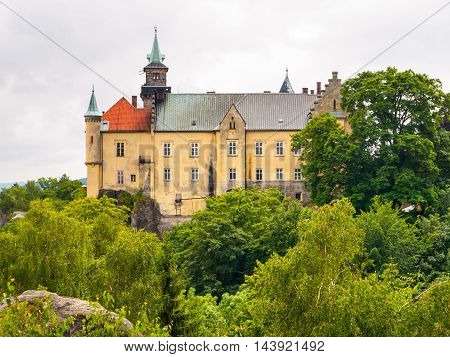 Medieval Castle Hruba Skala situated on a steep sandstone cliff in Bohemian Paradise, or Cesky Raj, Czech Republic
