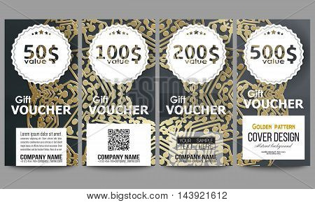 Set of modern gift voucher templates. Golden microchip pattern on dark background with connecting dots and lines, connection structure. Digital scientific vector.
