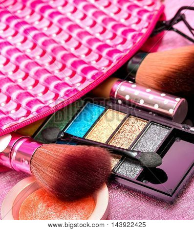 Cosmetic Makeups Represents Brush Facial And Cosmetology