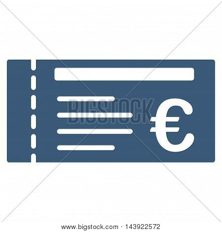Euro Ticket icon. Glyph style is flat iconic symbol, blue color, white background.