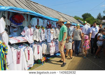 Velyki Sorochyntsi -August 20, 2016: Ukrainian embroidered clothes on Sorochintsy Fair in Velyki Sorochyntsi, Ukraine