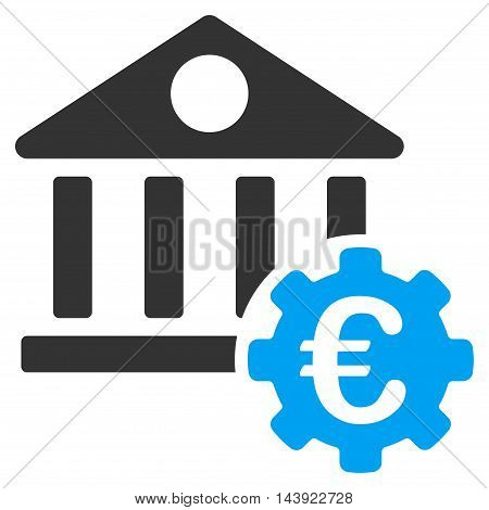 Euro Bank Building Options icon. Vector style is bicolor flat iconic symbol, blue and gray colors, white background.