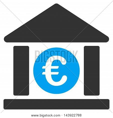 Euro Bank Building icon. Vector style is bicolor flat iconic symbol, blue and gray colors, white background.