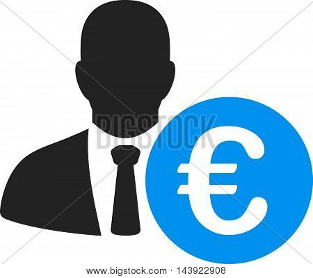 Euro Banker icon. Vector style is bicolor flat iconic symbol, blue and gray colors, white background.