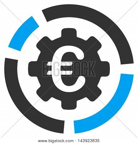 Euro Diagram Configuration icon. Vector style is bicolor flat iconic symbol, blue and gray colors, white background.