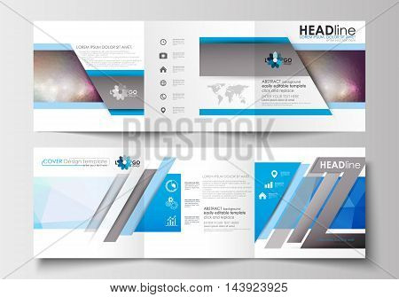 Set of business templates for tri-fold brochures. Square design. Leaflet cover, abstract flat layout, easy editable blank. Abstract triangles, blue triangular background, modern colorful polygonal vector.