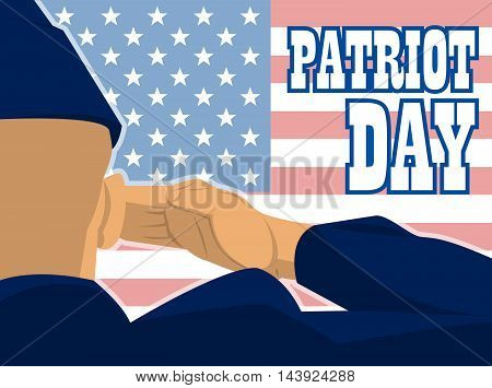 Patriot day card with the flag of unites states of america and a military soldier with hand gesture saluting. Digital vector image