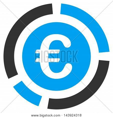 Euro Financial Diagram icon. Vector style is bicolor flat iconic symbol, blue and gray colors, white background.