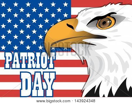Patriot day card with the flag of unites states of america and big eagle bird. Digital vector image