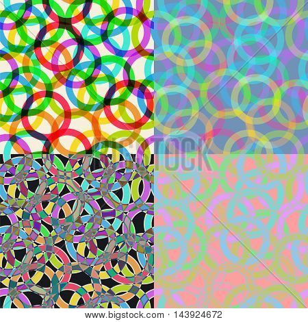 set of seamless pattern in psychedelic colors in 60's 70's style