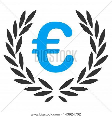 Euro Laurel Wreath icon. Vector style is bicolor flat iconic symbol, blue and gray colors, white background.