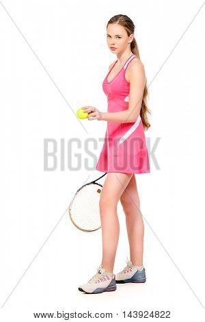 Full length portrait of a girl tennis player in motion. Studio shot. Isolated over white. Professional sports, tennis.