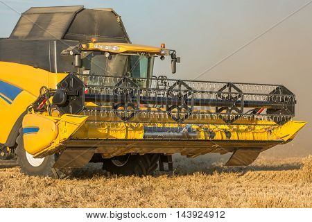 wheat harvest with a big tractor in summer