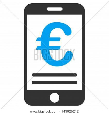 Euro Mobile Banking icon. Vector style is bicolor flat iconic symbol, blue and gray colors, white background.