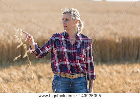 Portrait of woman farmer in a field of wheat