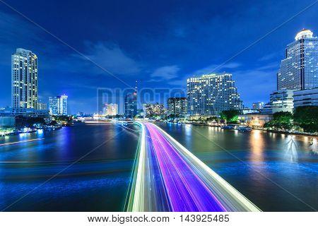 Riverside beauty at night in Bangkok Thailand