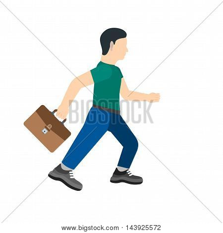Business, running, briefcase icon vector image. Can also be used for employment. Suitable for use on web apps, mobile apps and print media.