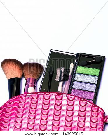 Cosmetic Makeup Kit Indicates Beauty Products And Blank