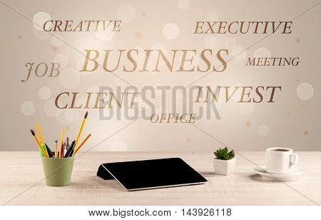 Business job office concept with close up wooden desk and materials, papers and electronic equipement