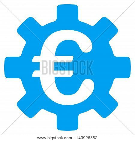 Euro Machinery Gear icon. Vector style is flat iconic symbol, blue color, white background.