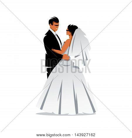 Bridal couple. Isolated on a white background
