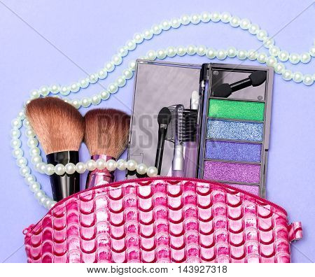 Makeup Kit Represents Beauty Product And Accessory