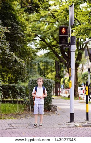 Little 7 Years Schoolboy Waiting For Green Light