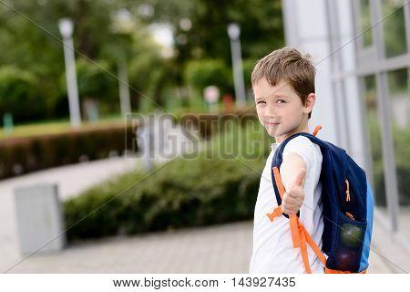 Happy Little 7 Years Schoolboy Going To School.
