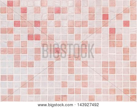 Closeup surface tiles pattern at red tiles in bathroom wall texture background