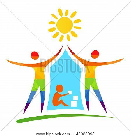 Gay family with child and sun. Happiness symbol.