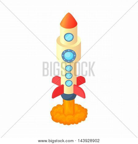 Rocket with lots of portholes icon in cartoon style isolated on white background. Aircraft symbol