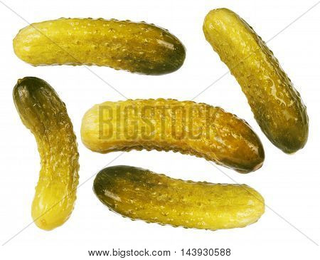 Freshly-salted cucumbers set isolated on white background