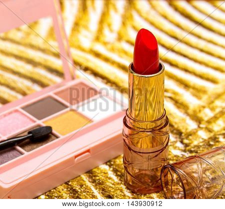 Red Lipstick Makeup Indicates Beauty Product And Face