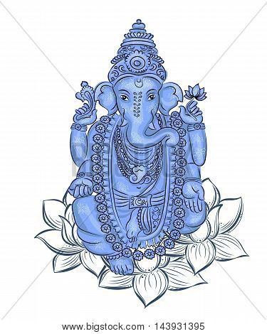 vector isolated image of Hindu lord Ganesh. Ganesh Puja. Ganesh Chaturthi. It is used for postcards prints textiles tattoo.