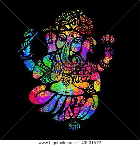 Lord Ganesha sitting in the lotus position on a psychedelic background. A poster for a party printing on T-shirts greeting cards or invitations