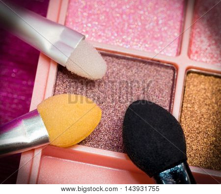 Eye Shadow Brushes Means Make Up And Eyes