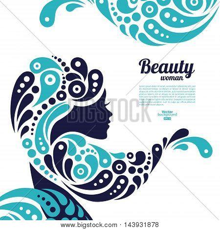 Beautiful woman silhouette. Tattoo of abstract girl hair. Marine design