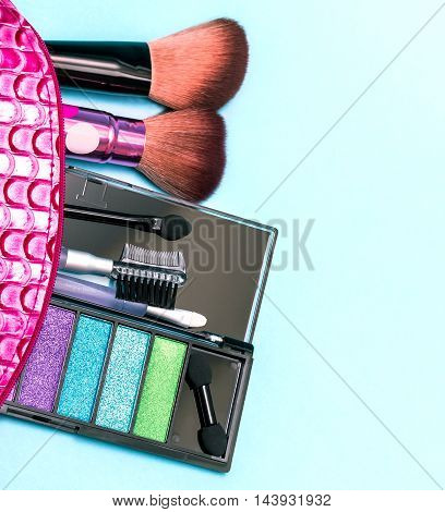 Cosmetic Makeup Kit Represents Soft Brush And Accessory