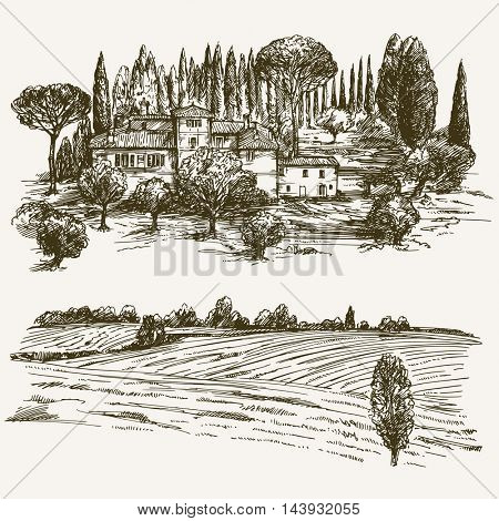 Rural landscape with country house.