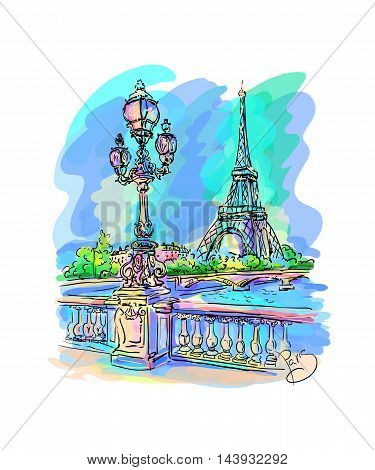Morning Paris. Seine embankment with a lantern in the foreground the Eiffel Tower on the other side. Vector on a colored background.