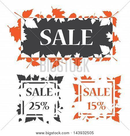 Autumn sale banner template design. Sale 15 and 25 percentage