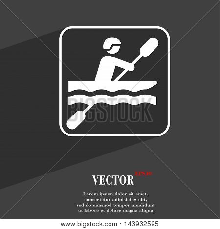 Canoeing Symbol Flat Modern Web Design With Long Shadow And Space For Your Text. Vector