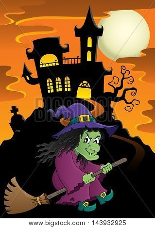 Witch on broom theme image 5 - eps10 vector illustration.