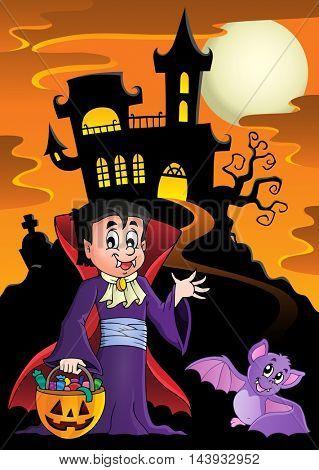 Halloween vampire near haunted house - eps10 vector illustration.