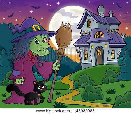 Witch with cat and broom theme image 4 - eps10 vector illustration.