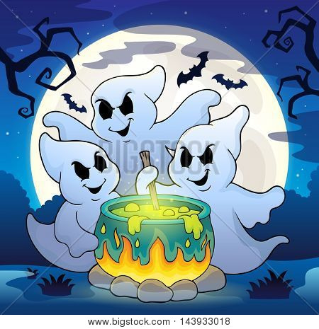 Ghosts stirring potion theme image 2 - eps10 vector illustration.