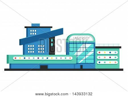 University building. Flat vector illustration. Constructivism style. Modern architecture. Bright design