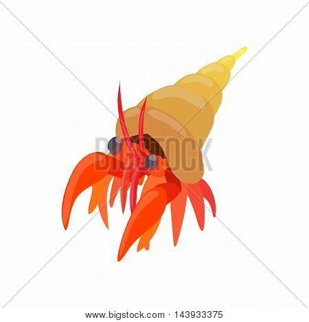 Cancer hermit icon in cartoon style isolated on white background. Crustaceans symbol