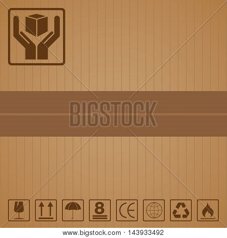 Black fragile symbol set for packaging on brown cardboard texture background.