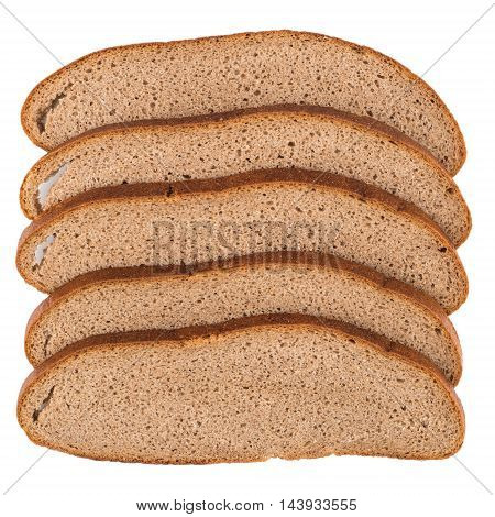 Fresh sliced rye bread isolated on white background cutout. Top view.